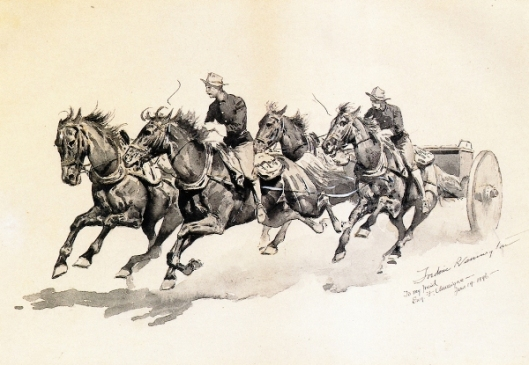 Team Of Cavalry Horses Pulling A Caisson