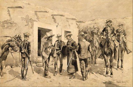 U. S. Cavalry Hunting Garza Men On The Rio Grande