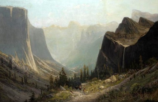Arrival In The Valley Of The Yosemite, Half Dome In The Distance