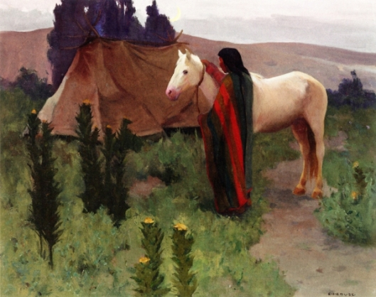 Evening Scene With White Horse