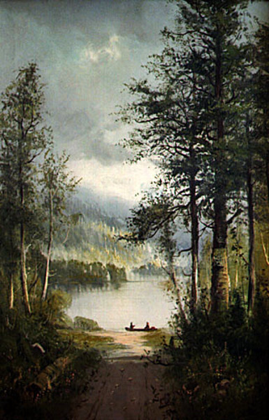 Landscape With Canoe On Lake