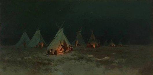 Sioux Village At Night