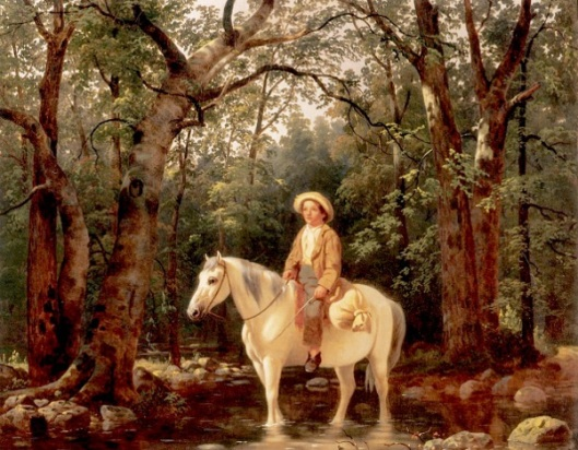 Going To Mill - Boy On Horse Fording A Stream