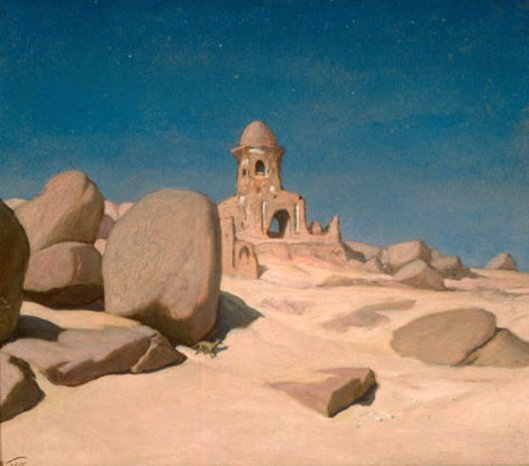 Assuan, Egyptian Tomb At Moonlight