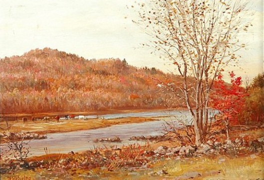 Fall Landscape With Cows Grazing