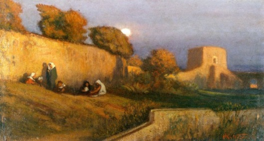 Figures By A Wall In Moonlight