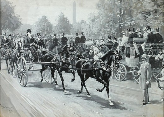 Horse Drawn Carriages In Front Of The Washington Monument