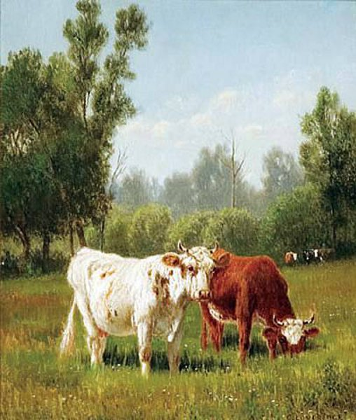 In The Pasture - Cattle Grazing