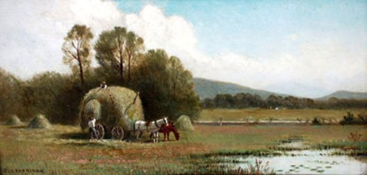 Landscape With A Hay Wagon, Figures And Pond