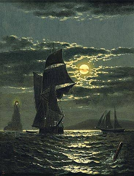 Moonlight Sail - Marine With Ships