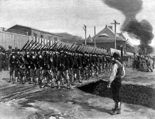 The First Troops In Homestead- The 18th Regiment Passing The Office And Works Of The Carnegie Company