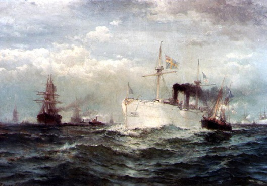 The White Squadron's Farewell Salute To The Body Of John Ericsson, New York Bay, August 23, 1890