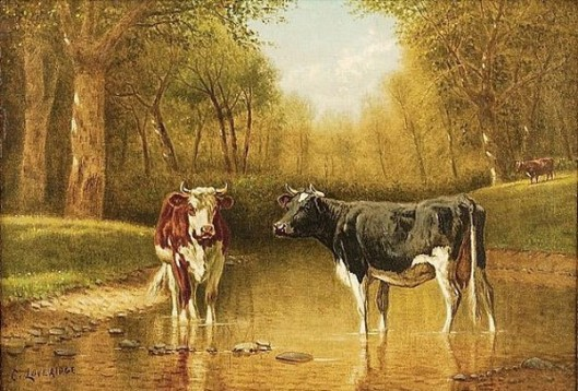Two Cows Standing In A Woodland Stream