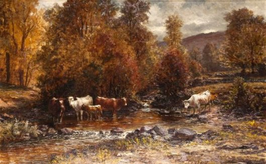 Wooded Landscape With Cows In A Stream