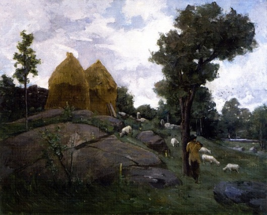 Haystacks, Shepherd And Sheep