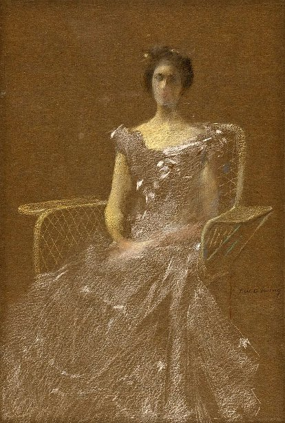 Lady In Rattan Armchair