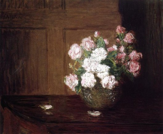 Roses In A Silver Bowl On A Mahogany Table