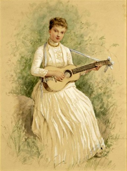 Seated Woman Playing A Guitar