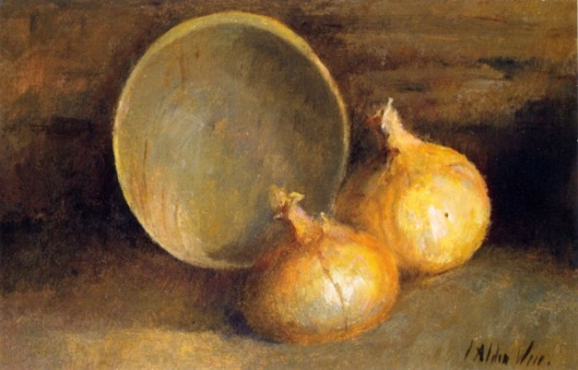 Still Life With Onions And Bowl