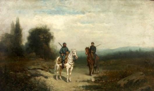 Civil War Soldiers On Horseback