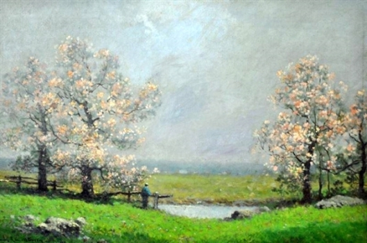 Flowering Trees In A Landscape With Figure