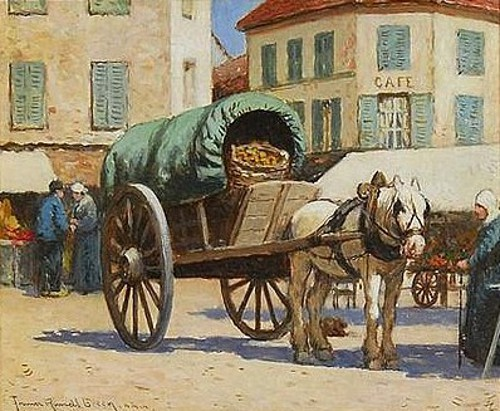 French Street Scene With Horse And Cart