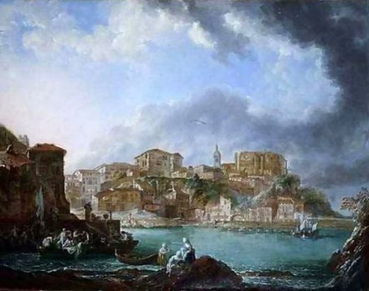 View Of The Harbour With Figures In Boats