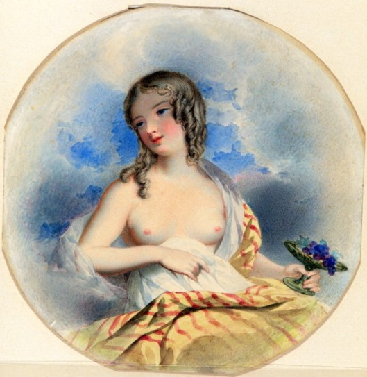 Young Woman, Seated, Holding A Dish Of Grapes