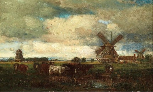 Landscape Of Cows And Windmills