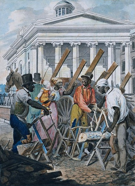 Black Sawyers Working In Front Of The Bank Of Pennsylvania, Philadelphia