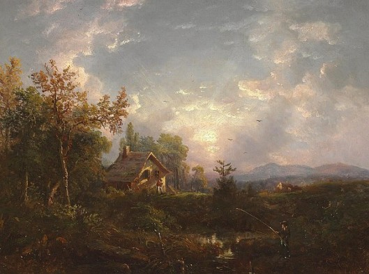 Landscape With Man Fishing