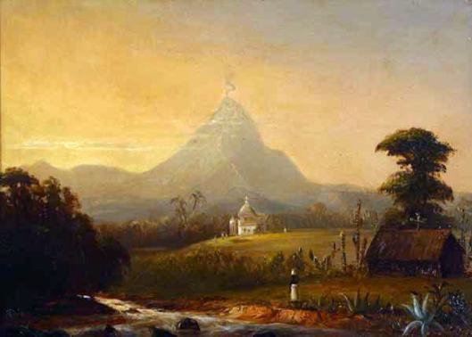 Volcano, Church And Figure In Semi-Tropical South American Scene