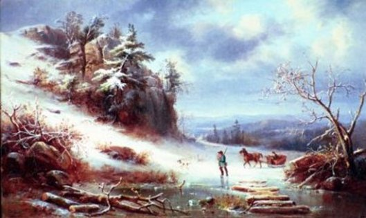 Winter Landscape With Horsedrawn Sleigh