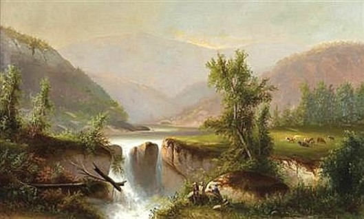 Hudson River Valley With Waterfall