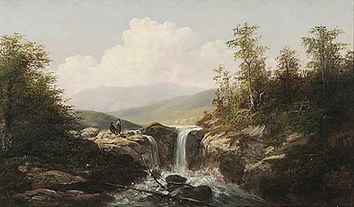 Mountain Landscape With Two Figures By The Waterfall