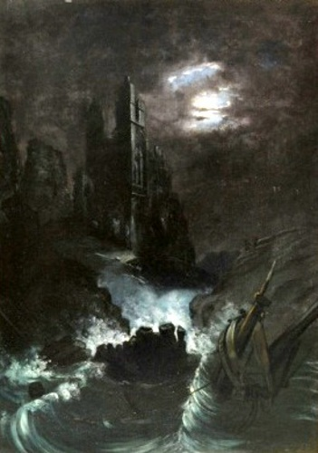 Shipwreck By A Ruin Under The Moonlight