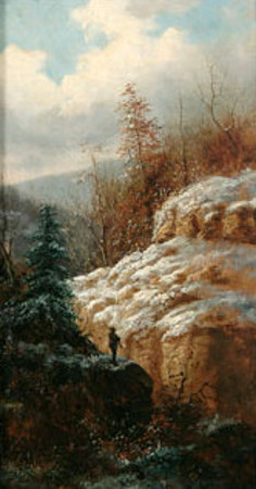Winter Mountain Scene With Hunter On Rock