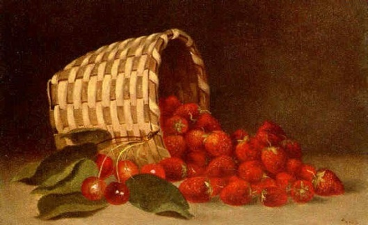 Basket With Strawberries And Cherries