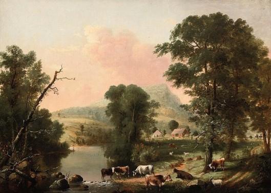 Cows Resting Near A River - Summer Scene