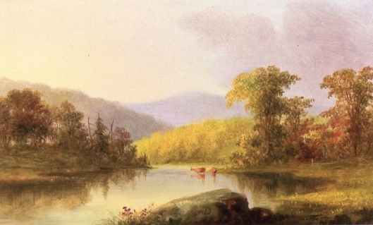 Summer Landscape With Cows At River