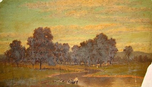 River Landscape With Figure