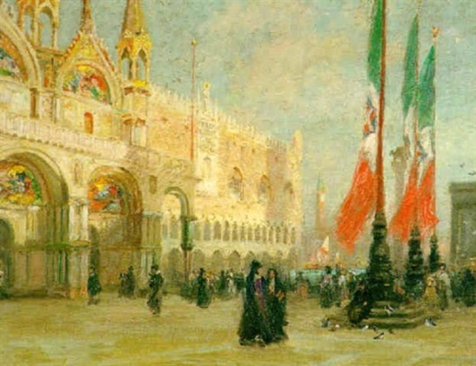 A View Of Piazza San Marco With Figures Gathered Outside The Doge's Palace, Venice