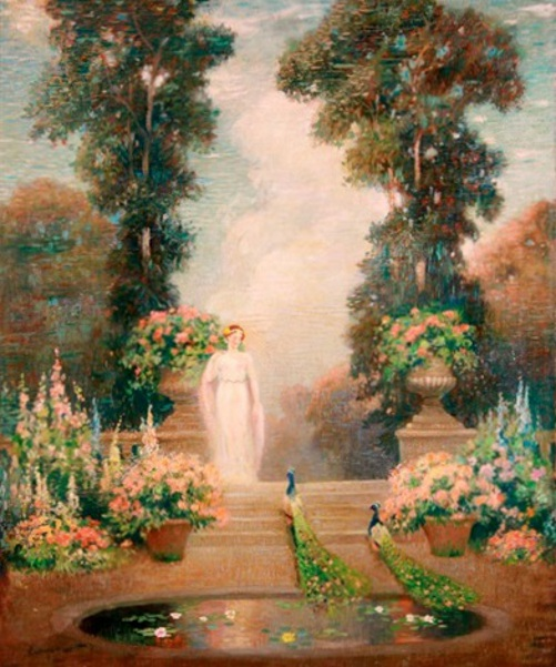 Allegorical Figure In A Blooming Garden With Peacocks