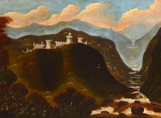 Castle Overlooking Waterfalls