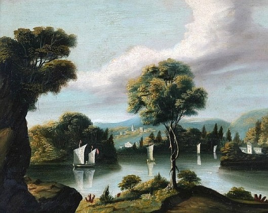 Lake Scene Of Four Sailboats