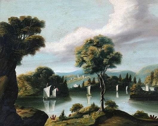 Lake Scene Of Four Sailboats