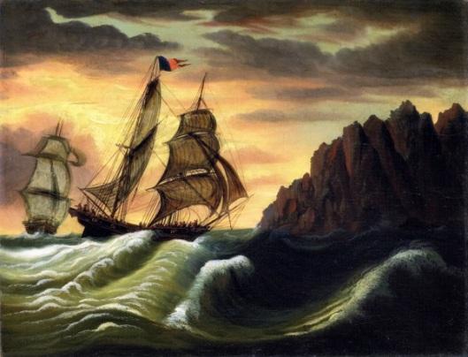 Ships Off A Rocky Coast