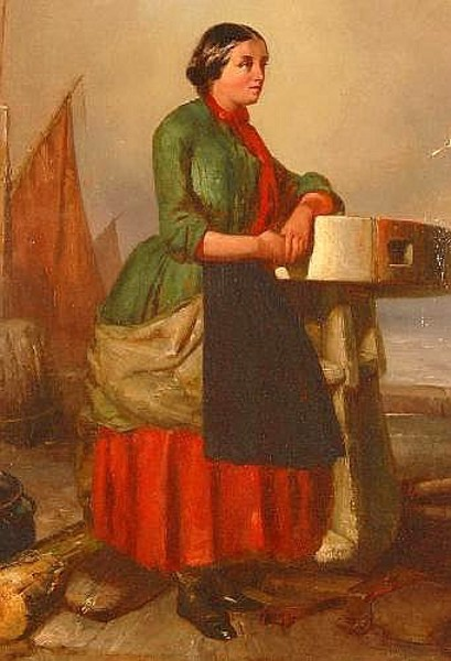 Study Of A Fisher Woman Leaning On A Capstan