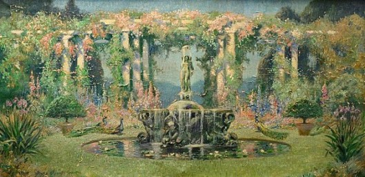 Sylvan Landscape With Fountain And Peacocks