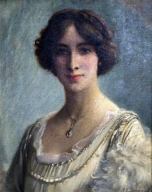 Portrait Of A Lady Wearing A Diamond And Pearl Pendant